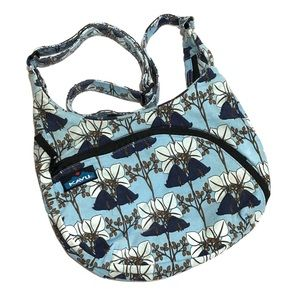 Kavu Sydney Satchel Crossbody Blue Floral Bag